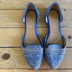 DSW Restricted Blue/Tan Patterned Flats
